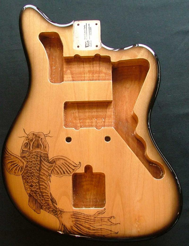 Alder jazzmaster custom koi fish pyrography guitar for Koi fish guitar