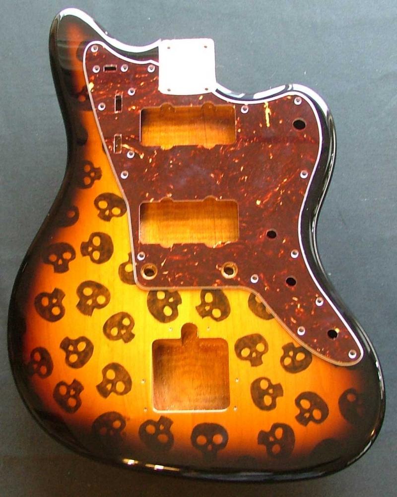 Alder Jazzmaster - custom skulls pyrography Image