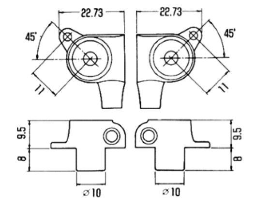 Gotoh Mini Tuning Keys, 6 inline Dimensions