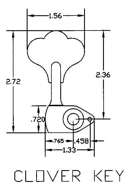 """Hipshot HB6C (3/8"""") Ultralite Bass Tuner for GB-7 size tuner hole with cloverleaf style tuning key Dimensions"""