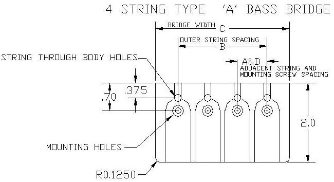 Hipshot A Style 4 String Bass Bridge Dimensions