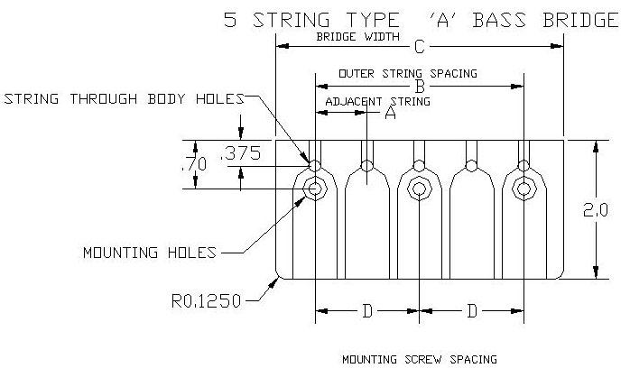 Hipshot A Style 5 String Bass Bridge Dimensions
