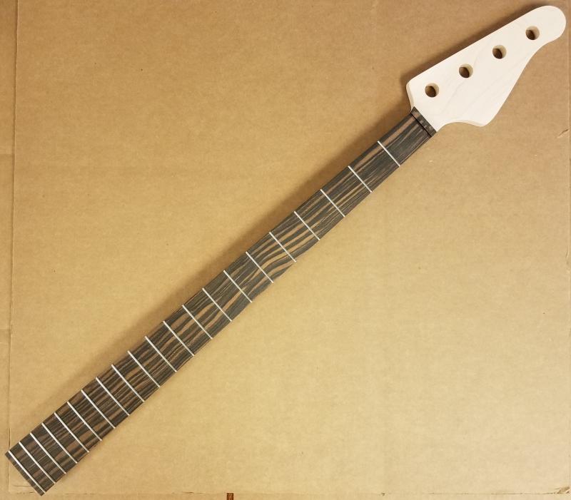 Custom J bass style Maple/Macassar Bass Guitar Neck Image